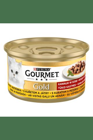 Kompleksa barība mājas pieaugušiem kaķiem Gourmet gold aknu vistas 85g