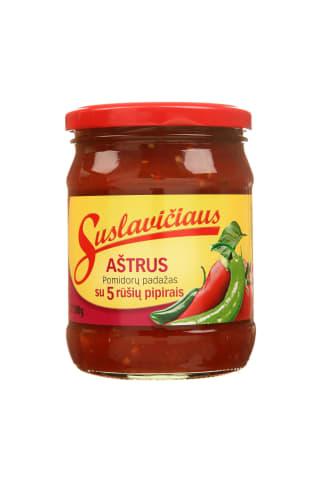 Aštrus pomidorų padažas su penkių rūšių pipirais SUSLAVIČIAUS, 500 g