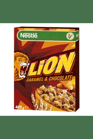 Pusryčių javų dribsniai su šokoladu, karamele, vitaminais ir mineralais NESTLE LION, 425 g