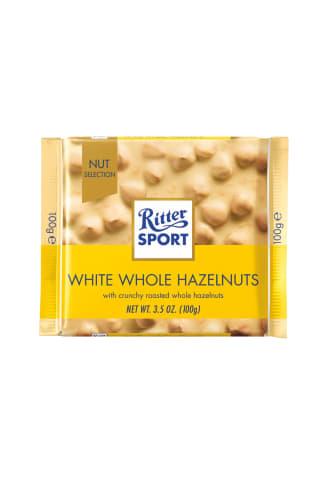 Ritter sport baltas šokoladas su neskaldytais riešutais, 100 g