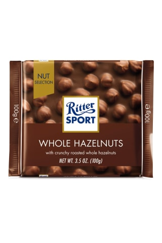 Ritter sport pieniškas šokoladas su neskaldytais riešutais, 100g