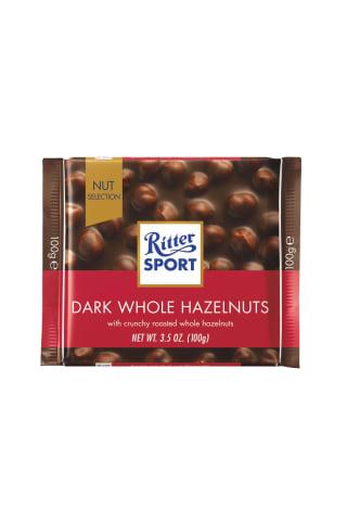 Ritter sport tamsusis šokoladas su neskaldytais riešutais,100g