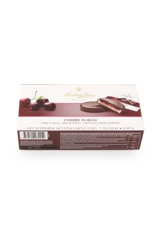 Šokolāde ar marcipānu (41%) un pildījumu (25%) un ķiršiem ar ruma aromātu.