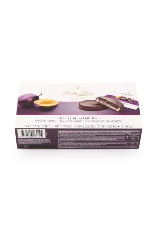 Tumšā šokolāde ar marcipānu (41%) un pildījumu (25%) un plūmēm ar madeiras vīna aromātu