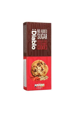 Kukurūzų ir avižų dribsnių sausainiai su šokolado gabalėliais ir goji uogomis be cukraus DIABLO, 135 g