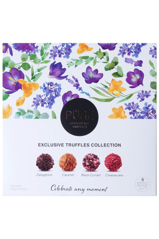 Piena šokolādes un šokolādes trifeļu Pure kolekcija Ziedi 135g