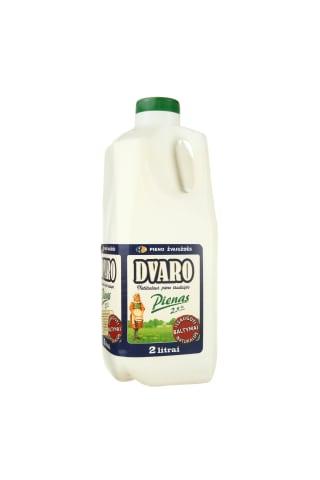 Pienas DVARO, 2,5% rieb., 2 l (plastmasinis butelis)