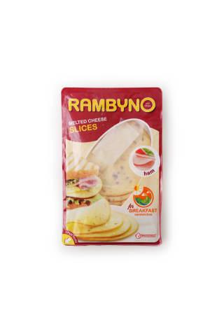 """Kausētais siers """"rambyno""""ar šķiņķi sagriezts 45% t. s. s."""