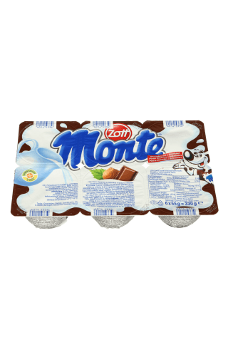 Šokoladinis desertas su lazdyno riešutais MONTE, 55 g
