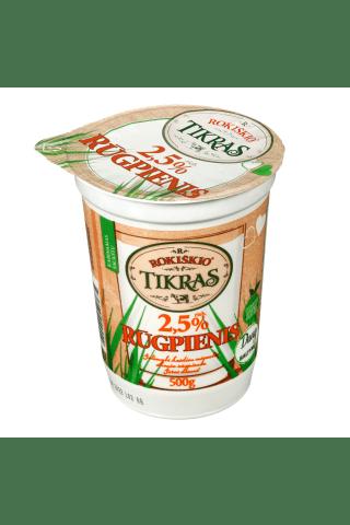 Ekologiškas rūgpienis ROKIŠKIO TIKRAS, 2,5% riebumo, 0,5 kg