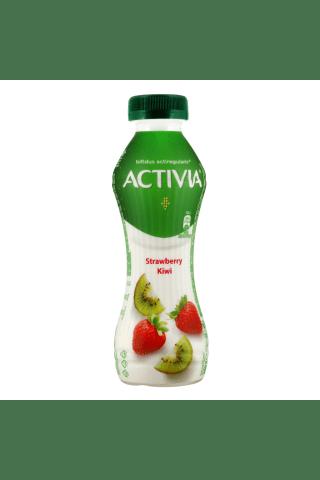 Jogurtinis gėrimas su braškėm ir kiviais ACTIVIA, 1,5% rieb., 300 g
