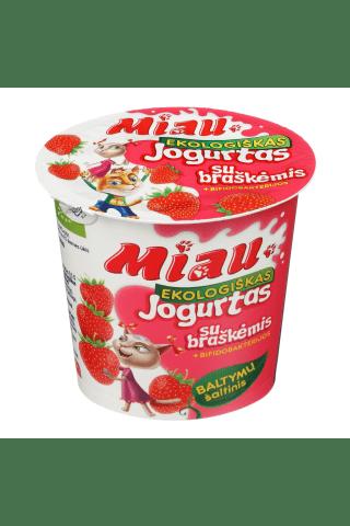 Ekologiškas jogurtas MIAU su braškėmis , 2,9-3,8% rieb., 125 g
