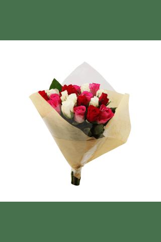 Rožu pušķis mix 40cm 20 ziedi