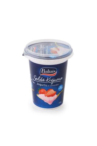 Saldā krējuma jogurts Baltais ar zemenēm 400g