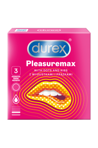 Prezervatyvai DUREX PLEASUREMAX, 56 mm, 3 vnt