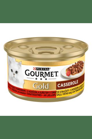 Kačių ėdalas su lašiša ir vištiena GOURMET GOLD, 85 g