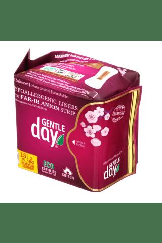 Ekologiški kasdieniniai higieniai įklotai GENTLE DAY MINI, 15 vnt