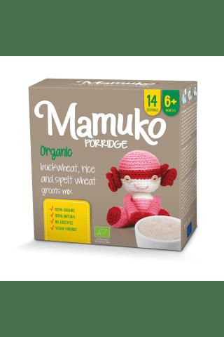Ekologiškų spelta kviečių, grikių ir ryžių kruopyčių mišinys MAMUKO, 6 mėn, 240 g
