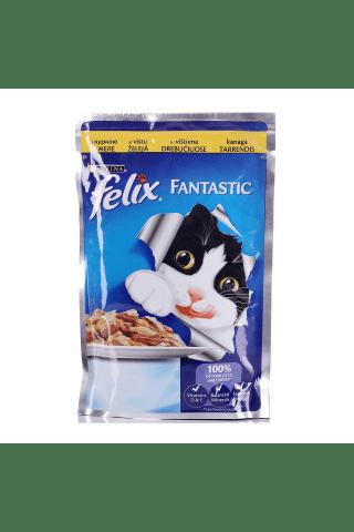 Pilnvērtīga barība pieaugušiem kaķiem Felix ar vistas gabaliņiem 100g