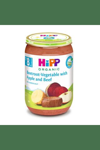 Ekologiška tyrelė burokėliai su daržovėmis,obuoliais ir jautiena nuo 8 mėn.hipp,220g