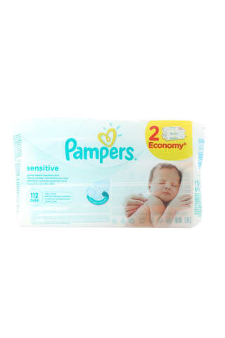 Drėgnos servetėlės PAMPERS SENSITIVE, 2x56 vnt