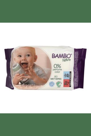 Drėgnos servetėlės BAMBO NATURE, 80 vnt