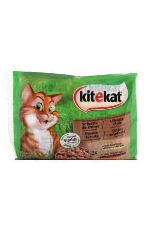 Konservuotas kačių ėdalas KITEKAT Mėsos Puota, 4 vnt x 100 g