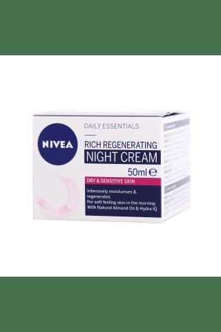 Naktinis veido kremas sausai ir jautriai odai NIVEA AQUA EFFECT, 50 ml