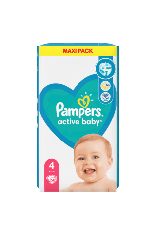 Sauskelnės PAMPERS ACTIVE BABY VP+ (4) 7-14 kg, 58 vnt.