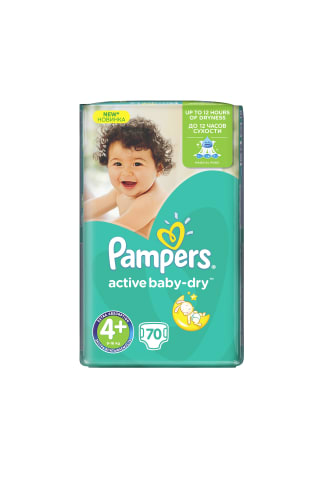 Sauskelnės PAMPERS ACTIVE BABY GP (4+) 9-16 kg, 70 vnt.
