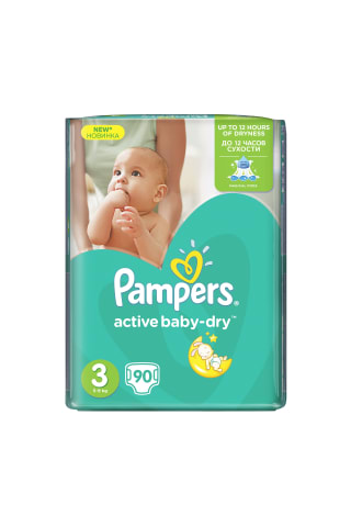 Sauskelnės PAMPERS ACTIVE BABY GP (3) 4-9 kg, 90 vnt.