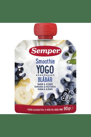 Geriamoji jogurto, bananų ir mėlynių tyrė SEMPER SMOOTHIE, nuo 6 mėn., 90 g