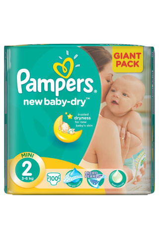 Sauskelnės PAMPERS NEW BABY GP (2) 3-6 kg, 100 vnt.