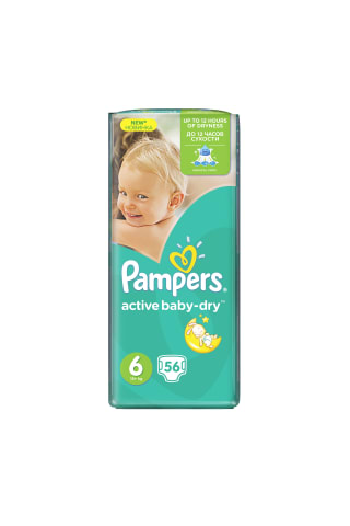 Sauskelnės PAMPERS ACTIVE BABY GP (6) 15+ kg, 56 vnt.