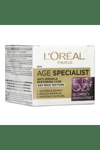 Veido dieninis kremas L`OREAL AGE SPECIALIST 55+,50 ml