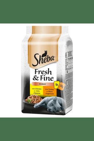 Konservi kaķiem Sheba mini pouch 6-pack mājputnu 6*50g