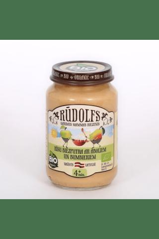 """Bērnu bioloģiskais biezenis """"Rūdolfs"""" Rīsu biezputra ar āboliem un bumbieriem, 190g"""