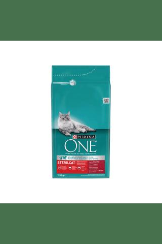 Sausas kačių ėdalas sterilizuotoms katėms su jautiena ONE, 1,5 kg