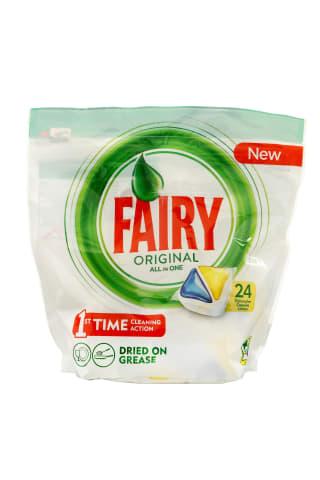 Kapsulas automātiskām trauku mazgāšanas mašīnām fairy all in one dzelt. 24 gab.