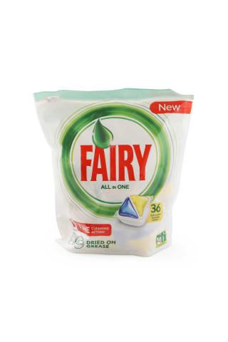 Kapsulas automātiskām trauku mazgāšanas mašīnām fairy all in one dzelt. 36 gab.