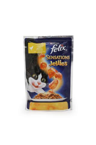 Kaķu barība Felix sensations jellies ar vistas gaļu želejā un burkāniem 100g
