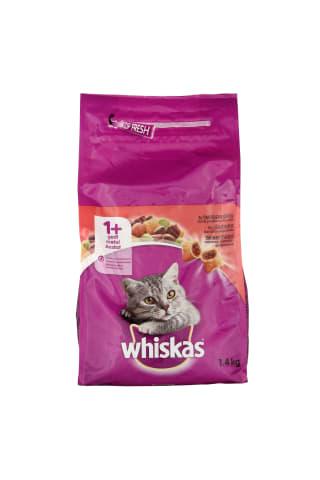 Sausas suaugusių kačių ėdalas su jautiena WHISKAS, 1,4kg