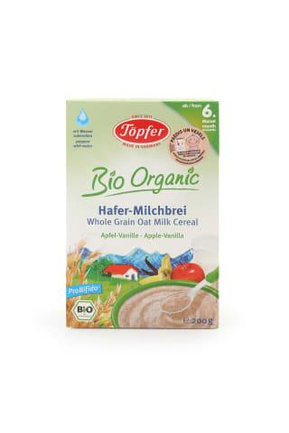 Piena biezputra Topfer bio auzu ar āboliem un vaniļu 200g