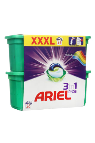Skalbimo kapsulės ARIEL 3in1 28+28 COLOR