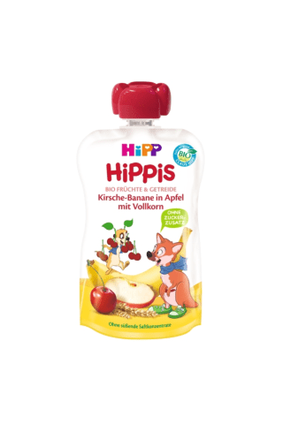 Biezenis Hipp Bio ķiršu, banānu, ābolu, pilngrauadu 100g