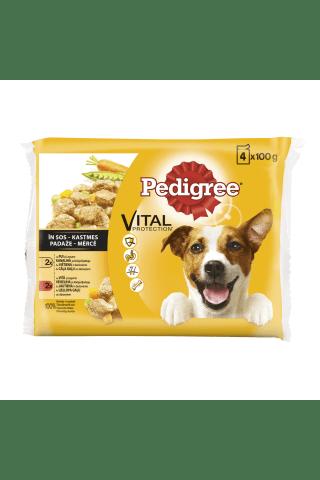 Visavertis ėdalo rinkinys su vištiena, jautiena ir daržovėmis suaugusiems šunims PEDIGREE Bonus PACK, 4 vnt x 100 g, 400 g