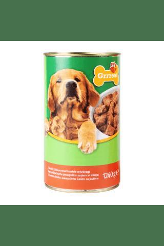 Kompleksa konservēta barība pieaugušiem suņiem. Grrreat ar liellopu gaļu 1.24kg