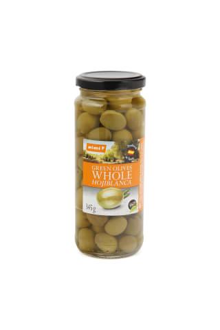 Zaļās olīvas Rimi ar kauliņiem 345/200 g