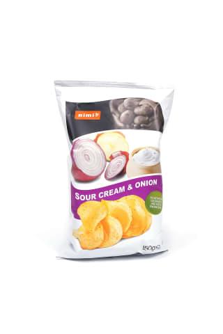 Grietinės ir svogūnų skonio bulvių traškučiai RIMI, 150 g