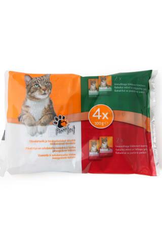 Kačių ėdalas jautiena ir paukštiena padaže PURRRFECT, 4 vnt x 100 g